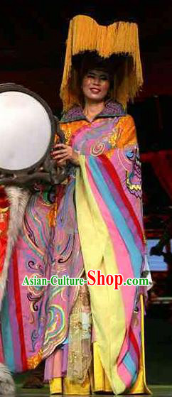 Rainbow Tribe Chinese Classical Dance Pink Dress Stage Performance Dance Costume and Headpiece for Women