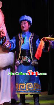 Rainbow Tribe Chinese Tu Minority Blue Clothing Stage Performance Dance Costume and Headpiece for Men
