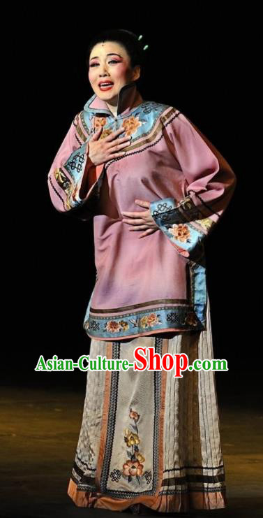 Huizhou Beauty Chinese Classical Dance Pink Dress Stage Performance Dance Costume and Headpiece for Women