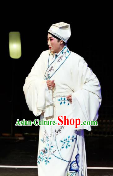 Sansheng Dream Chinese Cantonese Opera Niche White Clothing Stage Performance Dance Costume and Headpiece for Men