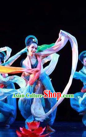 Dunhuang Reflections Chinese Classical Dance Dress Stage Performance Dance Costume and Headpiece for Women