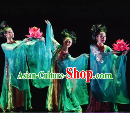 Dunhuang Reflections Chinese Classical Dance Green Dress Stage Performance Dance Costume and Headpiece for Women