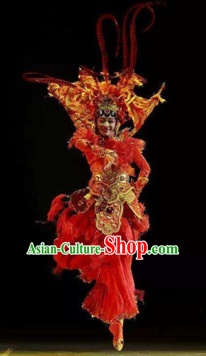 Dance Tianfu Chinese Classical Dance Red Dress Stage Performance Dance Costume and Headpiece for Women