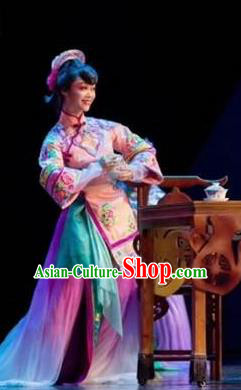 Dance Tianfu Chinese Sichuan Opera Pink Dress Stage Performance Dance Costume and Headpiece for Women