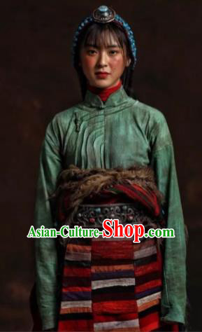 The Heavenly Road Chinese Zang Nationality Dance Green Dress Stage Performance Dance Costume and Headpiece for Women