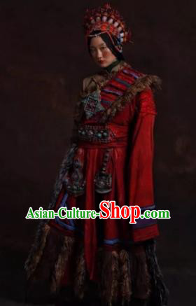 The Heavenly Road Chinese Zang Nationality Dance Red Tibetan Robe Stage Performance Dance Costume and Headpiece for Women