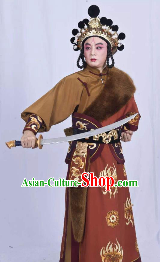 Mei Hua Zan Chinese Beijing Opera Takefu Brown Clothing Stage Performance Dance Costume and Headpiece for Men