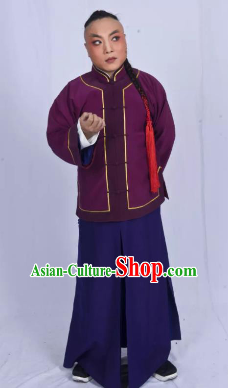 Mei Hua Zan Chinese Beijing Opera Purple Clothing Stage Performance Dance Costume and Headpiece for Men
