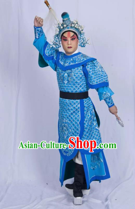 Mei Hua Zan Chinese Beijing Opera Takefu Blue Armor Clothing Stage Performance Dance Costume and Headpiece for Men