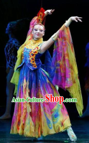 Hundred Bird Dress Chinese Classical Dance Colorful Dress Stage Performance Dance Costume and Headpiece for Women