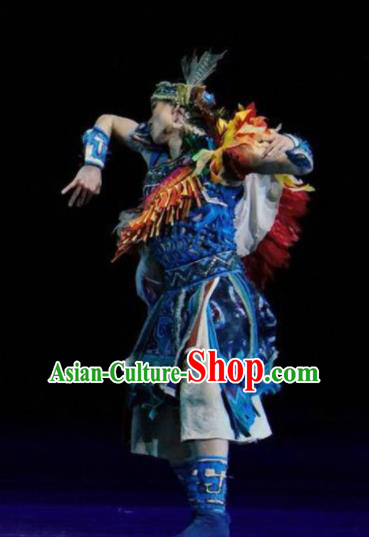 Hundred Bird Dress Chinese Ethnic Dance Blue Clothing Stage Performance Dance Costume and Headpiece for Men