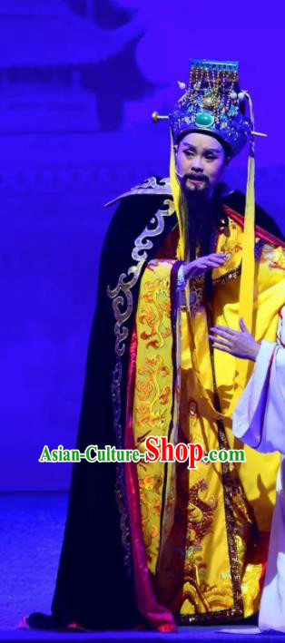Amber Fate Chinese Beijing Opera Emperor Clothing Stage Performance Dance Costume and Headpiece for Men