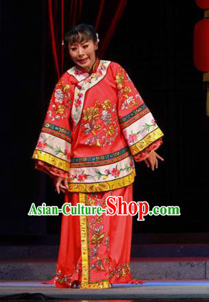 Shi Niang Chinese Classical Dance Wedding Red Dress Stage Performance Dance Costume and Headpiece for Women