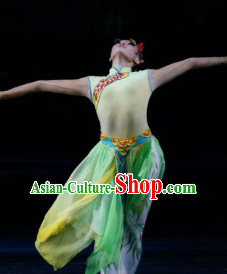 Hundred Bird Dress Chinese Classical Dance Green Dress Stage Performance Dance Costume and Headpiece for Women