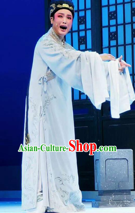 Amber Fate Chinese Shaoxing Opera Niche Blue Clothing Stage Performance Dance Costume and Headpiece for Men