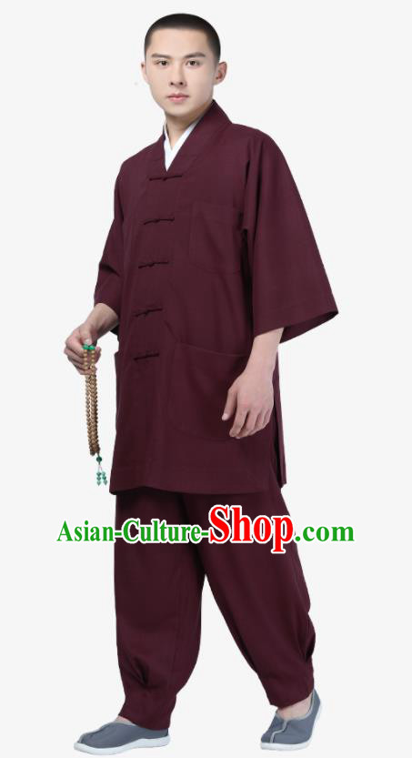 Traditional Chinese Monk Costume Meditation Purplish Red Shirt and Pants for Men