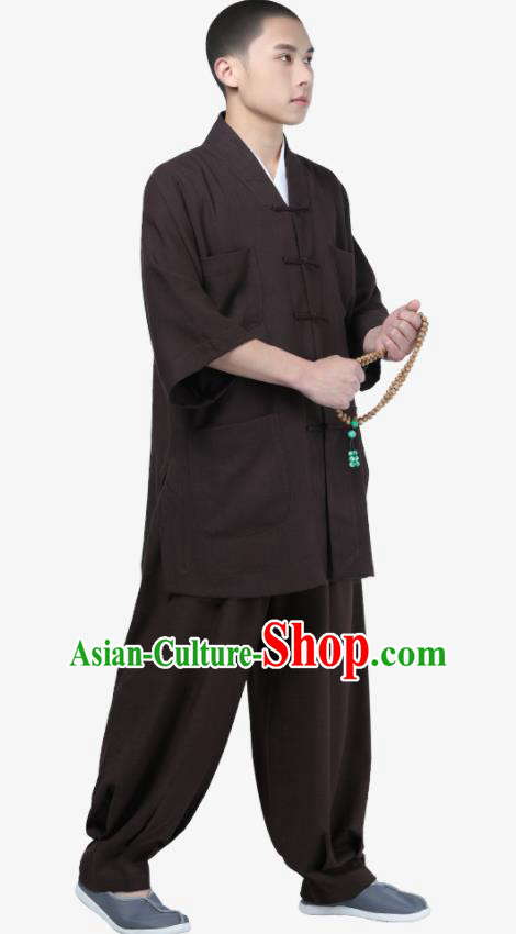 Traditional Chinese Monk Costume Meditation Brown Shirt and Pants for Men