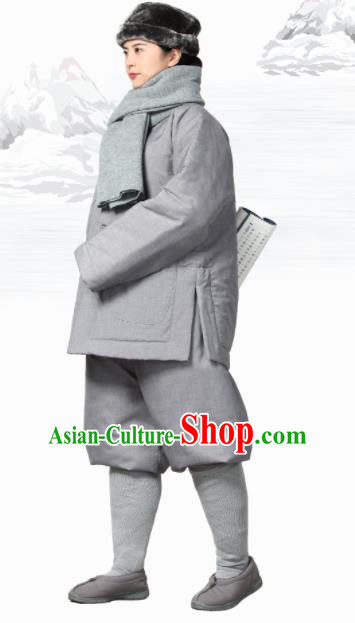 Traditional Chinese Monk Costume Meditation Outfits Grey Cotton Wadded Jacket Shirt and Pants for Men