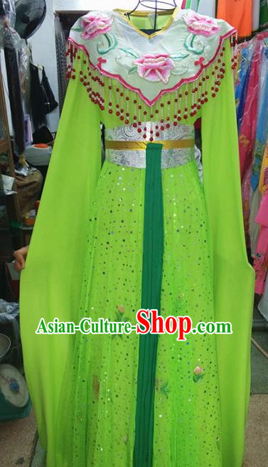 Chinese Traditional Beijing Opera Diva Costume Peking Opera Young Lady Green Dress for Adults
