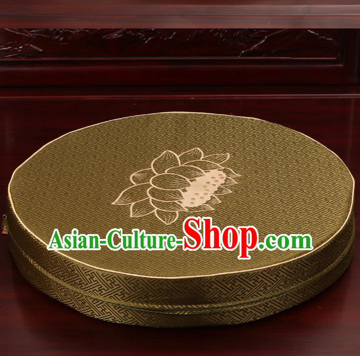 Chinese Classical Household Ornament Traditional Rush Cushion Cover Olive Green Brocade Mat Cover