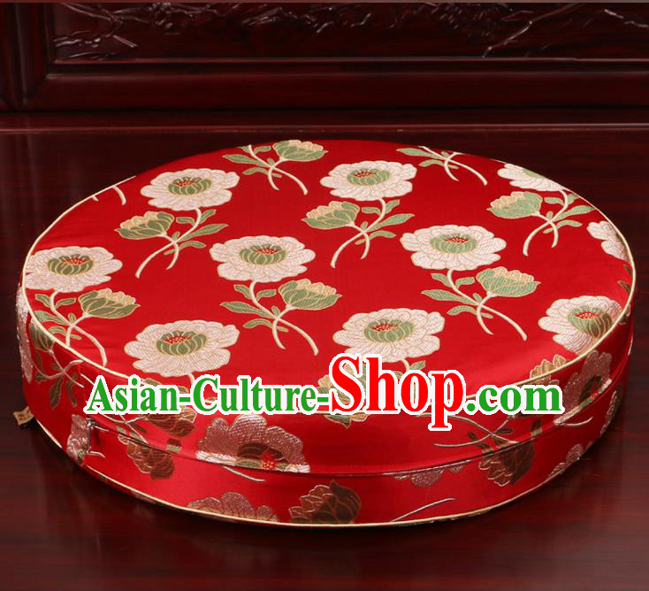 Chinese Classical Household Ornament Traditional Rush Cushion Cover Red Brocade Mat Cover