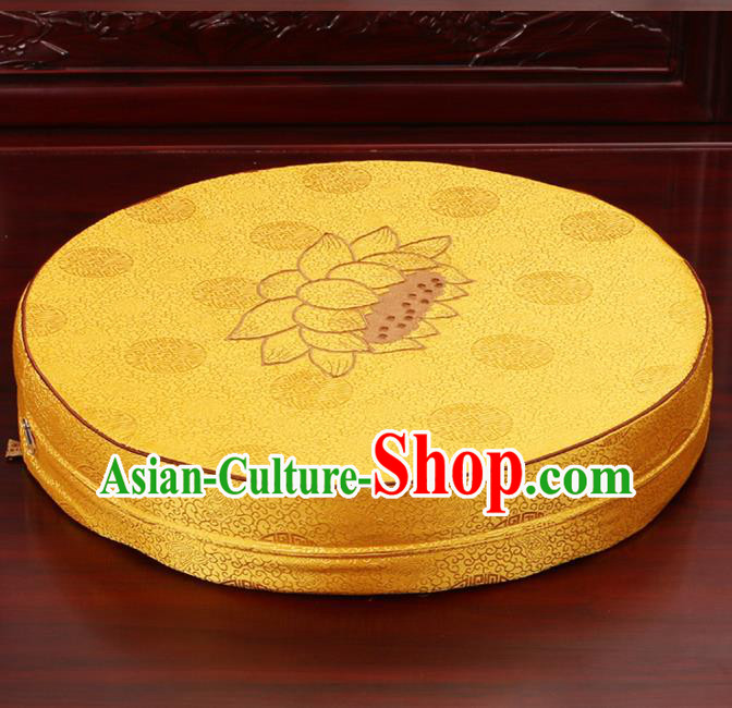 Chinese Classical Household Ornament Traditional Rush Cushion Cover Yellow Brocade Mat Cover