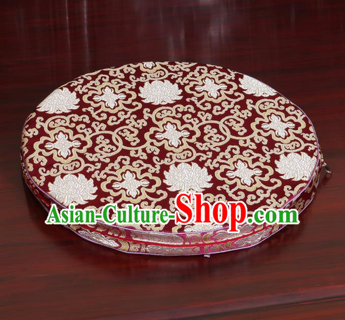 Chinese Classical Household Ornament Wine Red Brocade Rush Cushion Cover Traditional Lotus Pattern Mat Cover