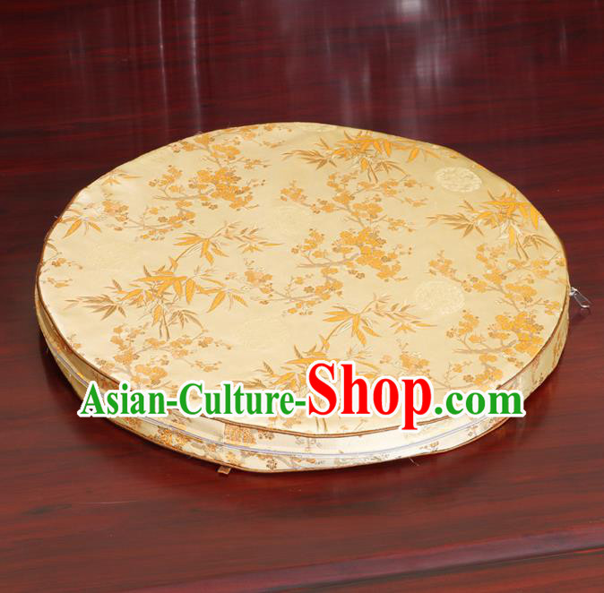 Chinese Classical Household Ornament Yellow Brocade Rush Cushion Cover Traditional Bamboo Pattern Mat Cover