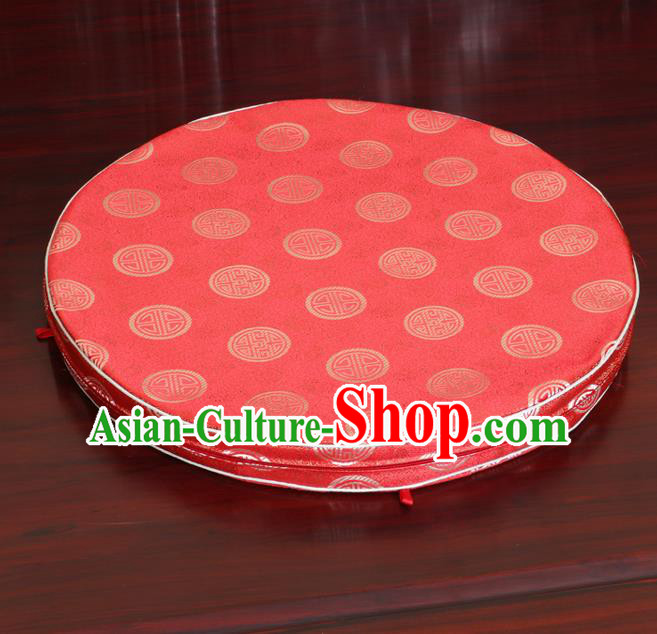 Chinese Classical Household Ornament Rush Cushion Cover Traditional Pattern Watermelon Red Brocade Mat Cover