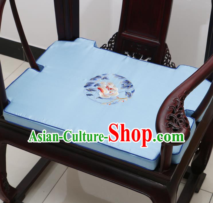 Chinese Classical Household Ornament Armchair Cushion Cover Traditional Embroidered Peony Blue Brocade Mat Cover