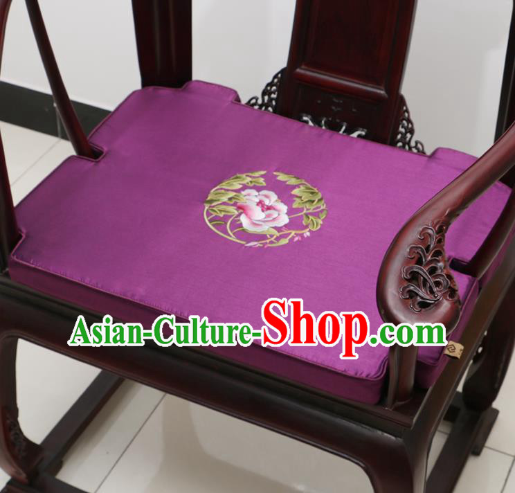 Chinese Classical Household Ornament Armchair Cushion Cover Traditional Embroidered Peony Purple Brocade Mat Cover