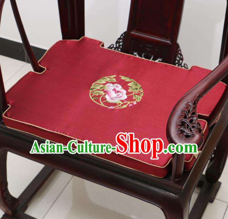 Chinese Classical Household Ornament Armchair Cushion Cover Traditional Embroidered Peony Purplish Red Brocade Mat Cover