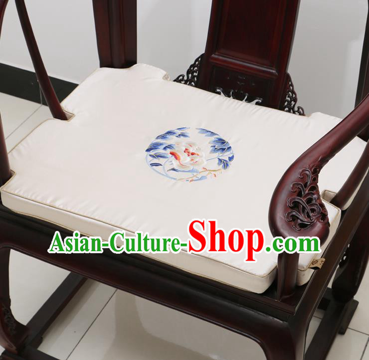 Chinese Classical Household Ornament Armchair Cushion Cover Traditional Embroidered Peony White Brocade Mat Cover