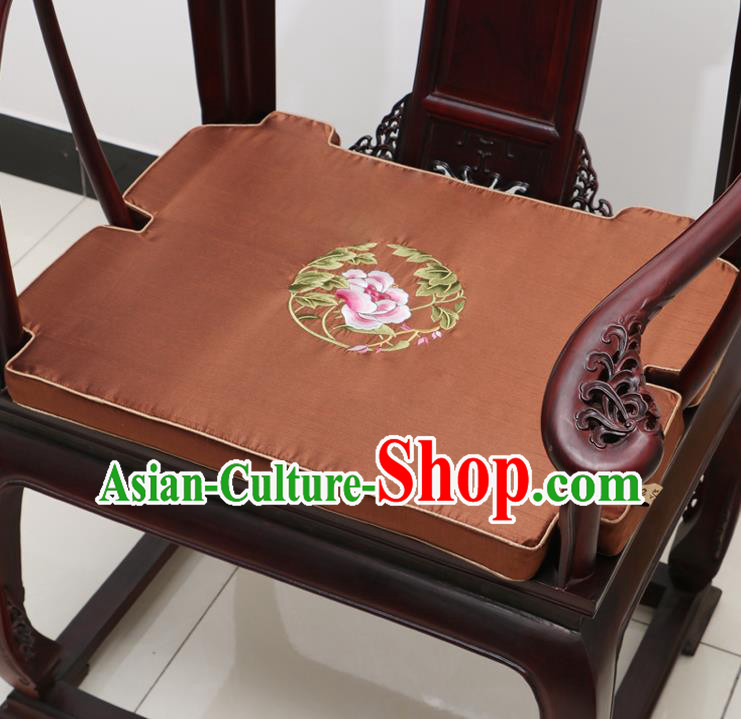 Chinese Classical Household Ornament Armchair Cushion Cover Traditional Embroidered Peony Brown Brocade Mat Cover