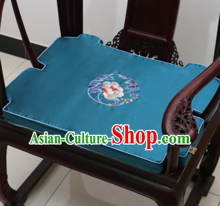 Chinese Classical Household Ornament Armchair Cushion Cover Traditional Embroidered Peony Peacock Blue Brocade Mat Cover