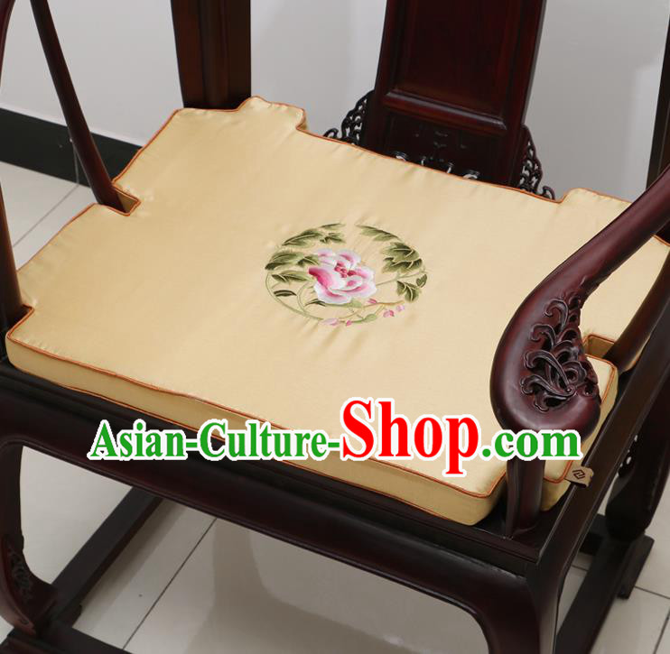 Chinese Classical Household Ornament Armchair Cushion Cover Traditional Embroidered Peony Beige Brocade Mat Cover