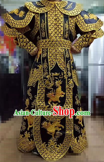 Chinese Traditional Beijing Opera Takefu Costume Peking Opera Martial General Black Clothing for Adults