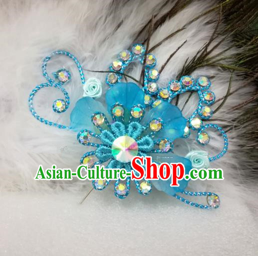 Chinese Traditional Beijing Opera Actress Hair Accessories Peking Opera Princess Blue Flowers Hairpins for Adults