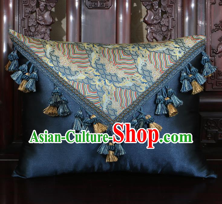 Chinese Traditional Wave Pattern Navy Brocade Back Cushion Cover Classical Household Ornament