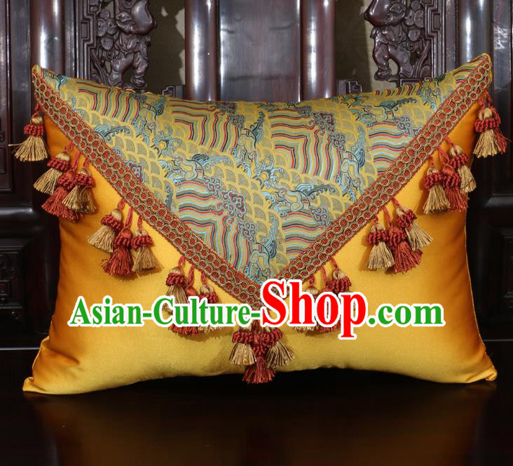 Chinese Traditional Wave Pattern Golden Brocade Back Cushion Cover Classical Household Ornament