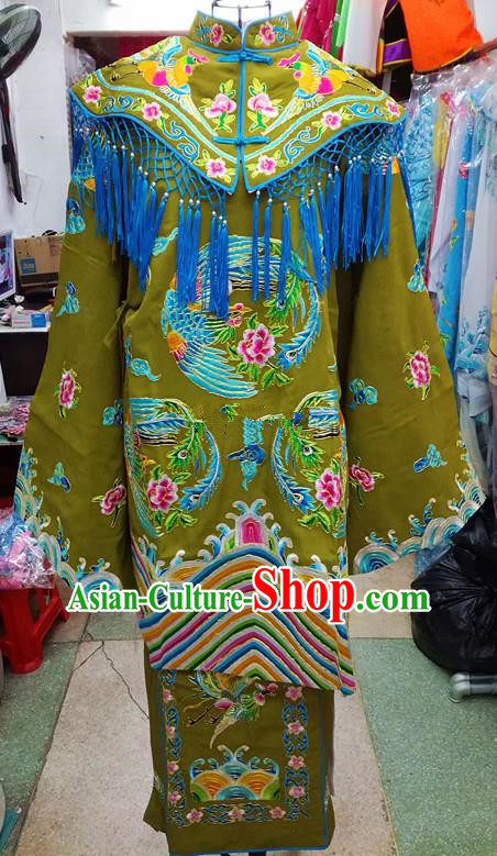 Chinese Traditional Beijing Opera Empress Green Embroidered Dress Peking Opera Actress Costume for Adults