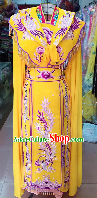 Chinese Traditional Beijing Opera Princess Yellow Embroidered Dress Peking Opera Actress Costume for Adults