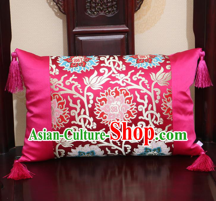 Chinese Traditional Lotus Pattern Rosy Brocade Back Cushion Cover Classical Household Ornament
