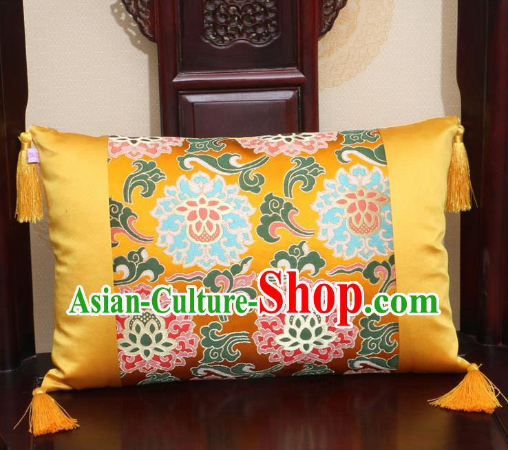 Chinese Traditional Lotus Pattern Golden Brocade Back Cushion Cover Classical Household Ornament