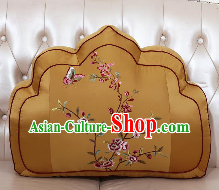Chinese Traditional Embroidered Pattern Bronze Brocade Back Cushion Cover Classical Household Ornament