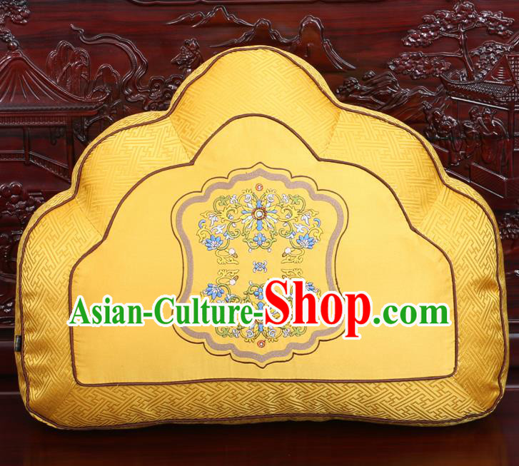 Chinese Traditional Embroidered Pattern Golden Brocade Back Cushion Cover Classical Household Ornament