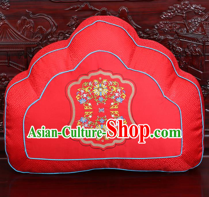 Chinese Traditional Embroidered Pattern Red Brocade Back Cushion Cover Classical Household Ornament