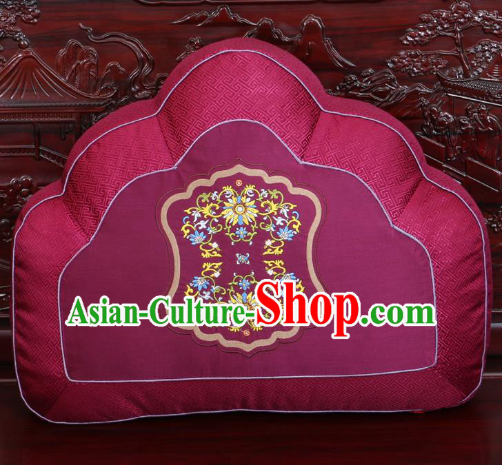 Chinese Traditional Embroidered Pattern Wine Red Brocade Back Cushion Cover Classical Household Ornament