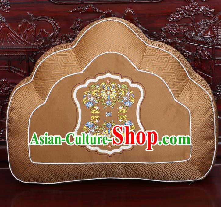 Chinese Traditional Embroidered Pattern Brown Brocade Back Cushion Cover Classical Household Ornament