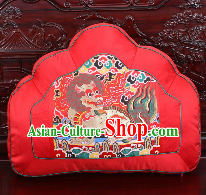 Chinese Traditional Embroidered Kylin Pattern Red Brocade Back Cushion Cover Classical Household Ornament
